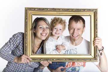 Family portrait isolated on white