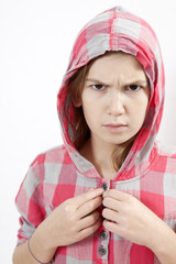young agressive little hoodie girl of eleven years old