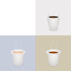 Three Kind of Coffee in Disposable with Copy Space