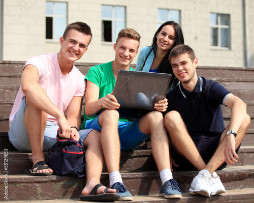 Friends and education, group of university students studying