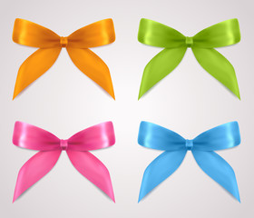 Set of gift bows (ribbons, present symbol). For holidays