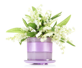 Beautiful lily of the valley in vase isolated on white