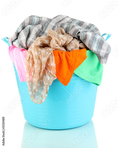 Blue laundry basket isolated on white