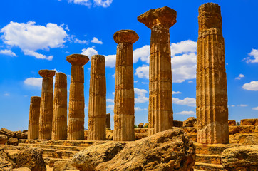 Stone columns of temple ruins in Agrigento, Sicily