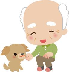 白髪のおじいさんと小型犬