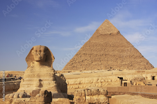 Plexiglas Egypte The Sphinx and Pyramid of Khafre, Cairo, Egypt