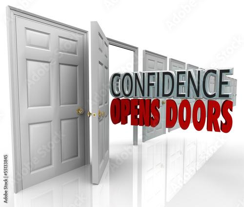Confidence Opens Doors Words in Doorway
