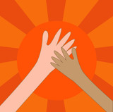 Help hand charity or hi five on the sun. vector. eps10