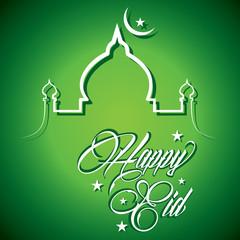 Creative calligraphy of text happy eid - vector illustration