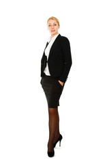 A full length portrait of a beautiful businesswoman standing