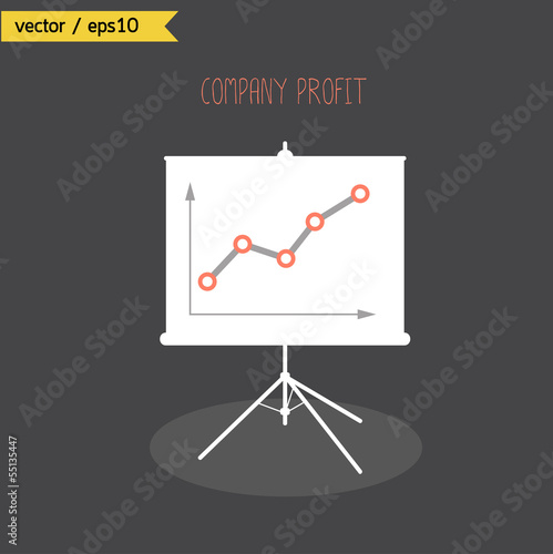 Company profits graph growth up on white board. vector. eps10