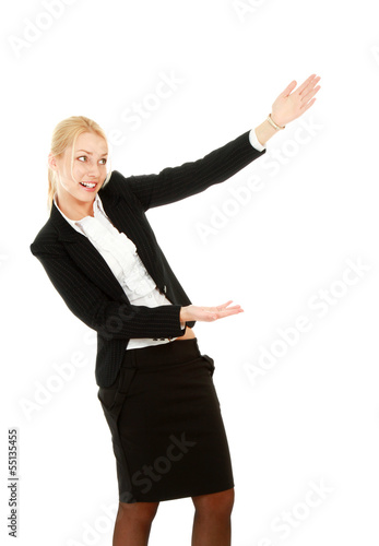 A full length portrait business woman shows something