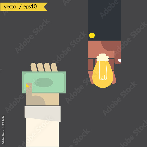 Exchange money and idea bulb. vector. eps10