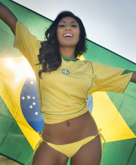Beautiful happy smiling Brazil soccer fan