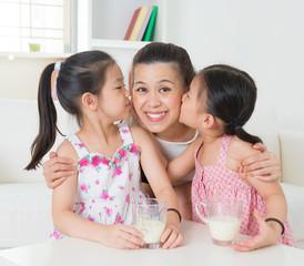Loving Asian family