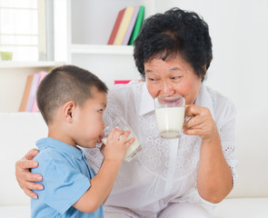 Family drinking milk
