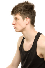 A young handsome male model wearing a black t-shirt