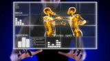 Boxing men on hologram