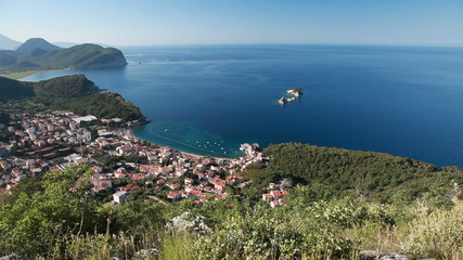 Petrovac resort town on the coast of Adriatic Sea
