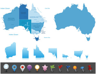 Australia - highly detailed map.Layers used.