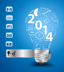 Vector 2014 new year with creative light bulb idea with drawing