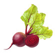 Beetroot with leaves isolated on white