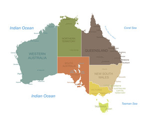 Australia-highly detailed map.Layers used.