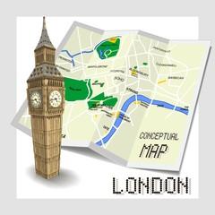 Conceptual tourist map of London