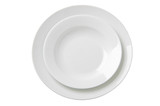 Two empty white plates