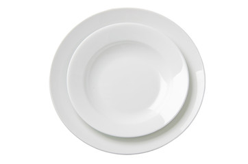 Two empty white plates