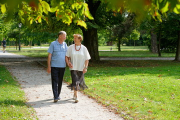Senior happy couple walking in the park