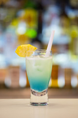 Blue Hawaii cocktail on a bar