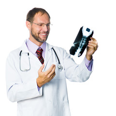 medical doctor checking X-Ray
