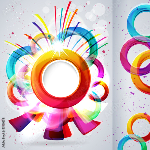 Abstract card background with design elements.