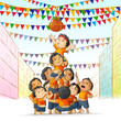 vector illustration of boys at playing dahi handi in Janmashtami