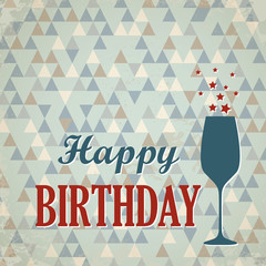 retro triangular happy birthday card with wine glass