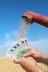 Soy and combine with hand holding Euro banknote