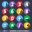 Numbers and Math Symbols. Vector Icons With Long Shadow Set 5
