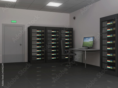 Modern Interior of Server Room
