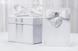 Gift with a card, styled in white