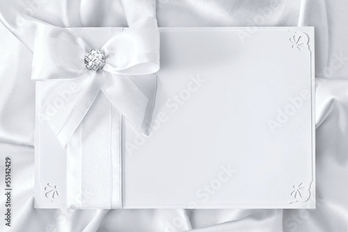 Greeting card, stylized in white