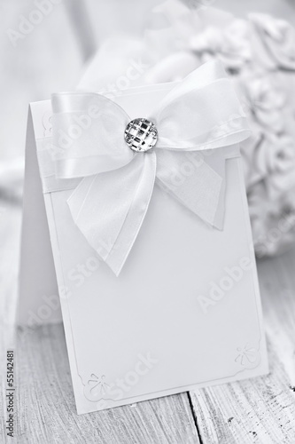 Bridal bouquet with a card