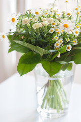 Closeup of a springtime bunch of flowers in a vase