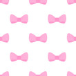 Seamless vector pattern with sweet pink bows on white background