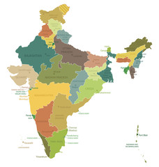 India-highly detailed map.Layers used.