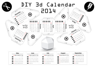 3d DIY Calendar 2014 | 3,1x2,9 inch compiled size