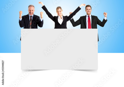 Group of people on a blank board