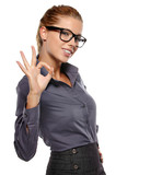 Happy smiling business woman with thumbs up gesture
