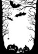 Halloween card with the silhouette of trees, bats, pumpkins