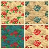 Set of vector seamless pattern with roses, craft paper